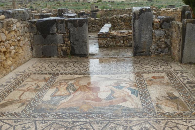 Ancient roman Volubils ruins and mosaics stock images
