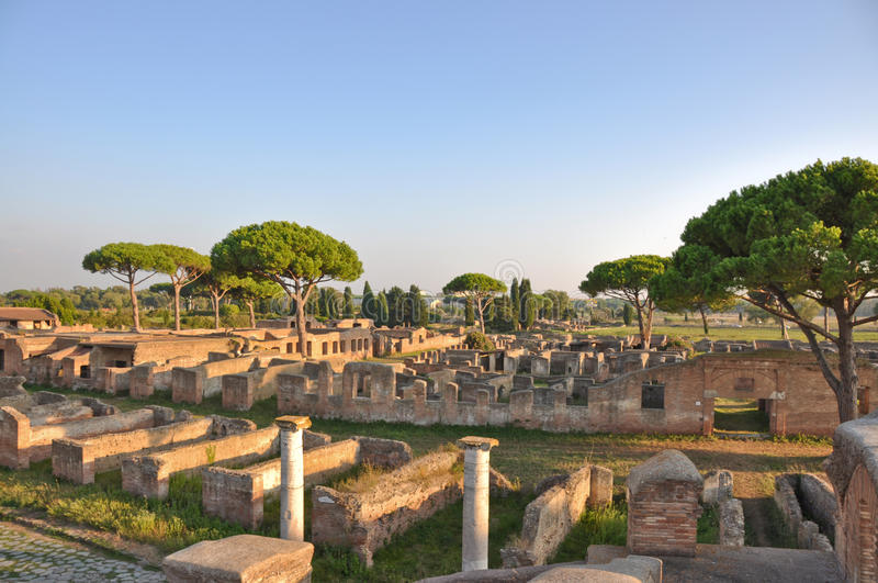 Ancient Romanian city - Ostia Antica royalty free stock photography