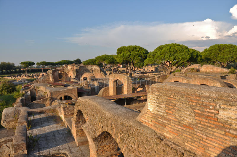 Ancient Romanian city - Ostia Antica. This is a view of Ostia Antica - Romanian ancient city, the biggest harbour in ancient Romanian Empire. September 6, 2014 stock photo