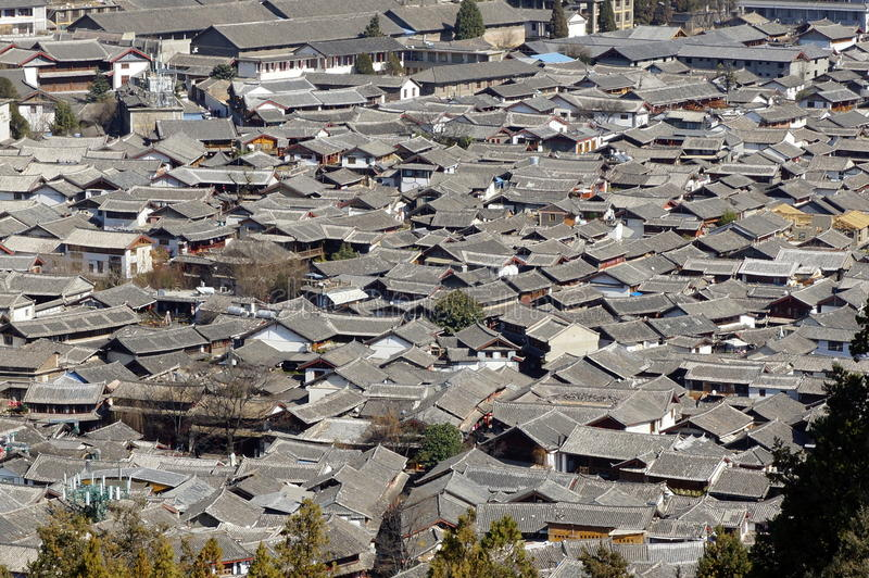 Ancient roof in Lijiang old town, Yunnan China stock images