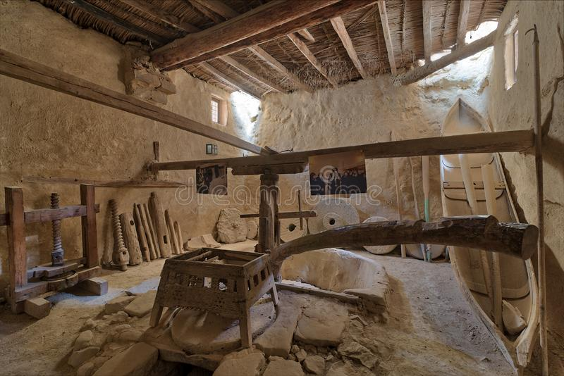 Ancient rotary Flour Mill used to be rotated by animal power at the Monastery of Saint Paul the Anchorite, Egypt. Cairo, Egypt - March 24 2018: Ancient rotary royalty free stock photo
