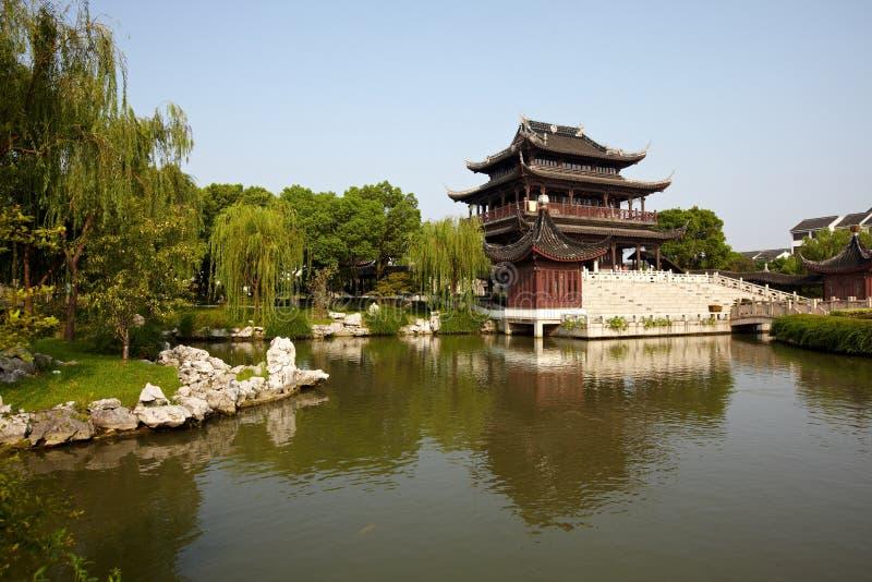 Ancient Ruigang Pagoda. Ancient Chinese Ruigang Auspicious Light Pagoda Dates Back to 1004 AD in Song Dynasty Suzhou China stock image