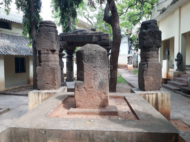 Ancient ruin of hindu god sivalinga statue stock photos