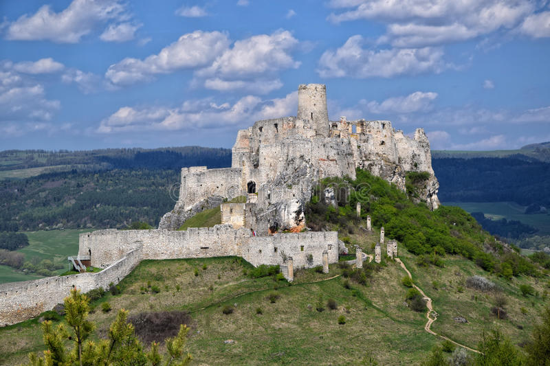 Ancient ruin of Spis Castle, Slovakia at summer sunshine day royalty free stock images