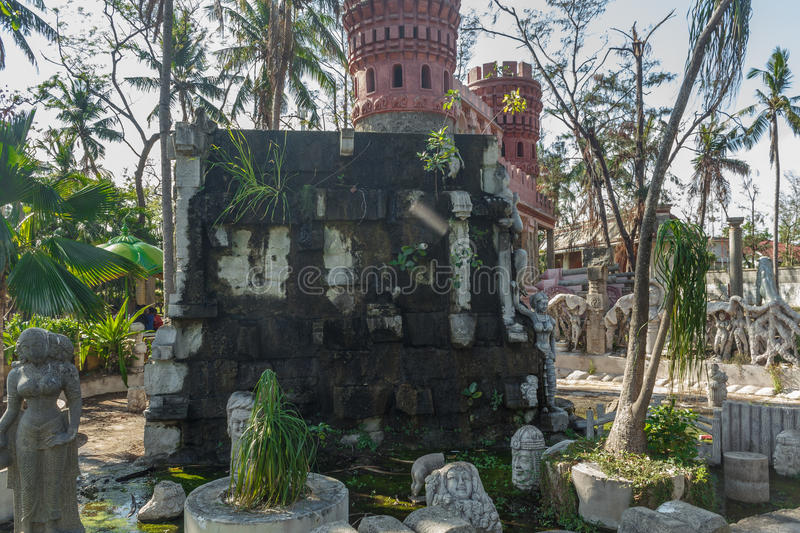 Ancient ruined or dried waterfall fountain with different sculptures on it, Chennai, India, Jan 29 2017 royalty free stock photography