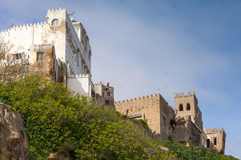 Ancient ruined fortress and houses in Medina. Tangier, Mo royalty free stock photos