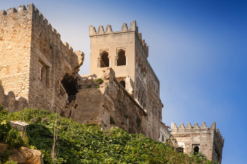 Ancient ruined fortress in Tangier, Morocco. Ancient ruined fortress in Medina of Tangier, Morocco stock images