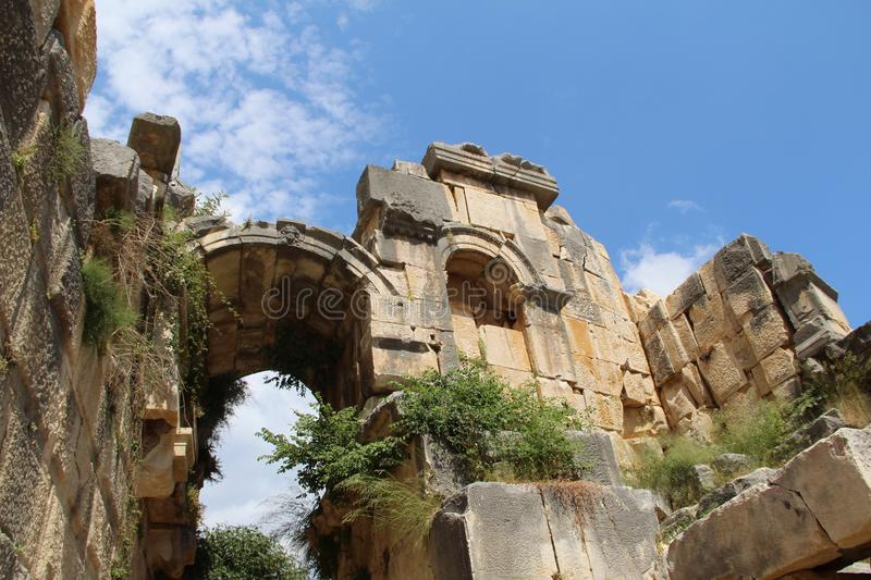 Ancient ruined ruins in Turkey stock photography
