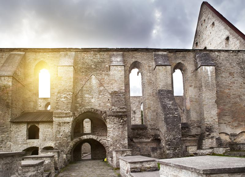 Ancient ruined St. Brigitta convent 1436 year in Pirita region, Tallinn, Estonia royalty free stock images