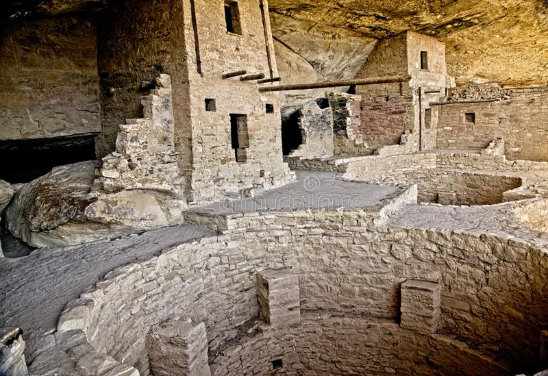 Mesa Verde Anasazi Cliff Dwellings. Ancient ruins are all that remain of the Anasazi Puebloan people that once lived at Cliff House at Mesa Verde, Colorado stock images