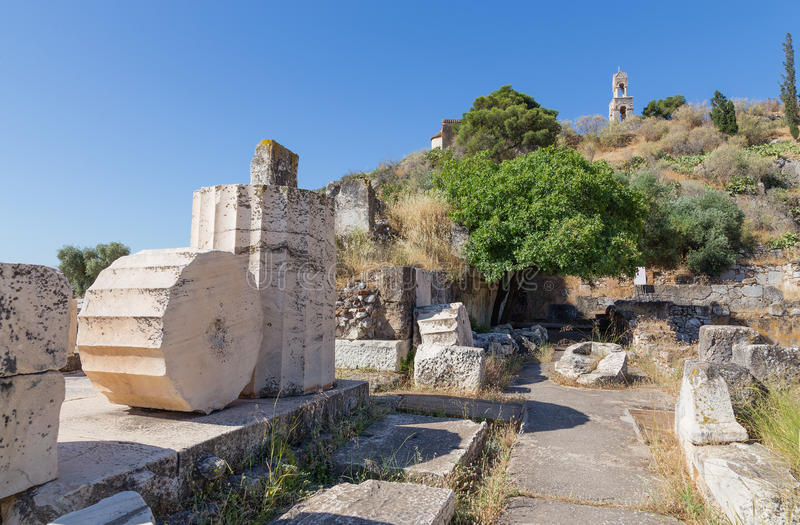 Ancient ruins in the archaeological site of Eleusis, Attica, Greece royalty free stock images