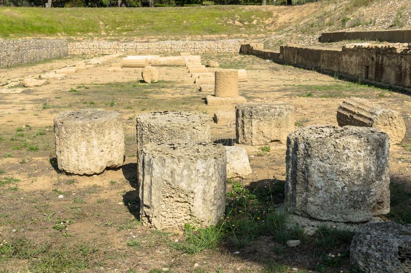 Ancient ruins of archaeological site of Olympia in Peloponnese, Gymnasion Greece. royalty free stock image