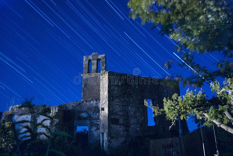 Ancient ruins of a building and a church from the 1200 in chia stock images