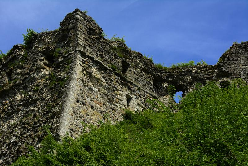 Ancient ruins of the castle of the town of Khust & x28;Dracula Castle royalty free stock photos