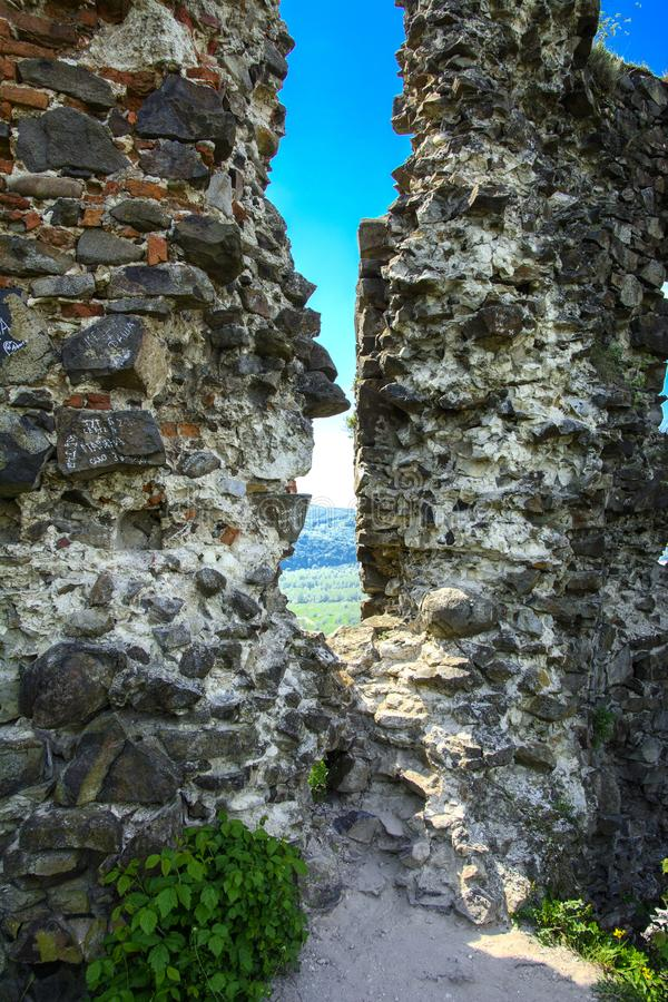 Ancient ruins of the castle of the town of Khust & x28;Dracula Castle stock photography