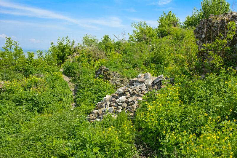Ancient ruins of the castle of the town of Khust & x28;Dracula Castle royalty free stock photo
