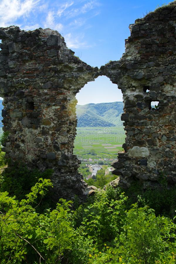 Ancient ruins of the castle of the town of Khust & x28;Dracula Castle royalty free stock photography