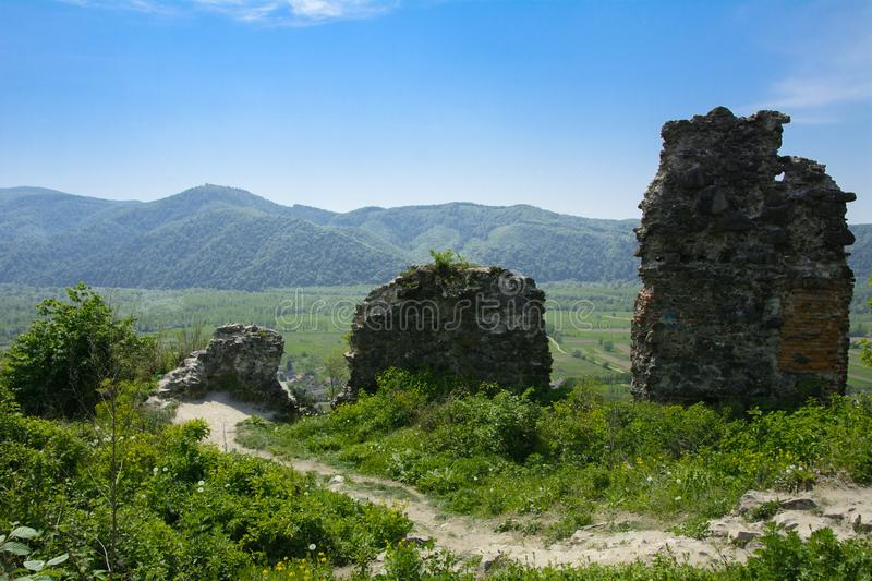 Ancient ruins of the castle of the town of Khust & x28;Dracula Castle stock images
