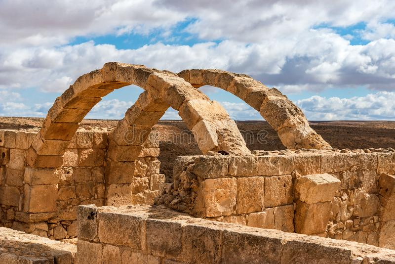 Ancient ruins of a Christian Nabatean desert city. AVDAT, ISRAEL / FEB 19, 2018:  The ruins of  this Christian Nabatean city in Israel`s Negev desert, abandoned stock photography