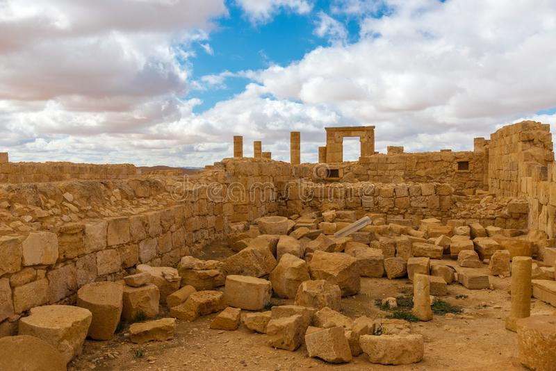 Ancient ruins of a Christian Nabatean desert city. AVDAT, ISRAEL / FEB 19, 2018:  The ruins of  this Christian Nabatean city in Israel`s Negev desert, abandoned stock image