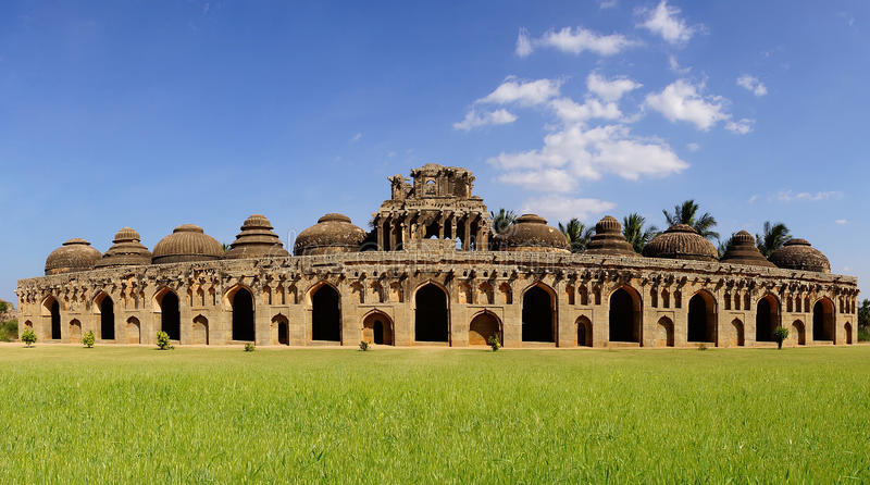 Ancient ruins of Elephant Stables. Hampi, India. stock image