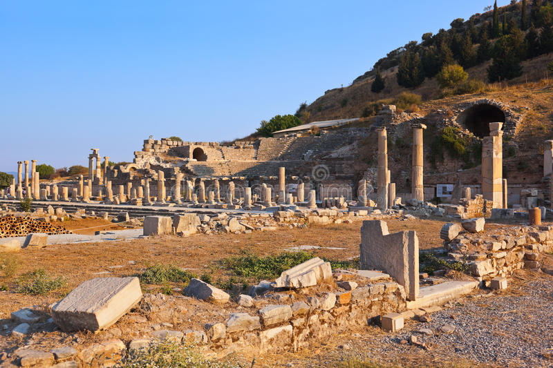 Ancient ruins in Ephesus Turkey. Archeology background royalty free stock image