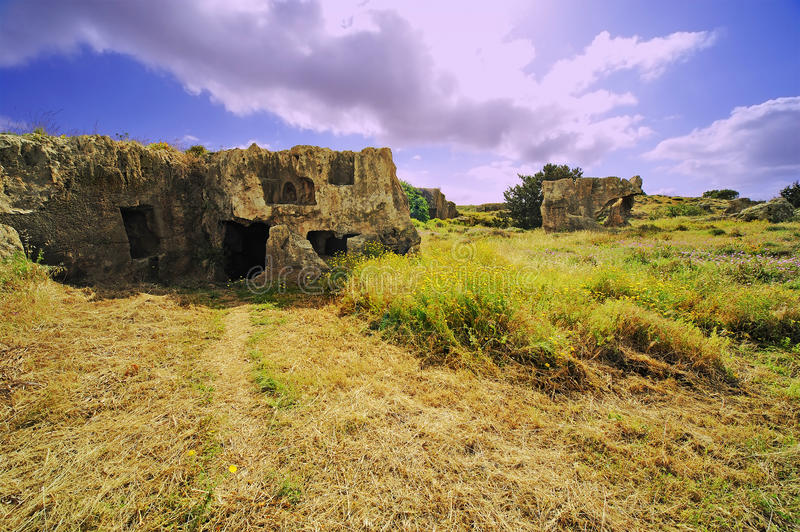 Ancient ruins on the field royalty free stock photo