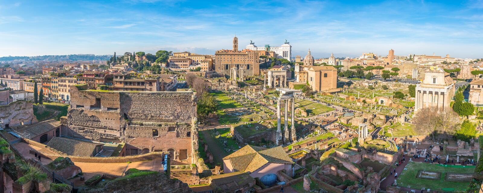 Ancient ruins of Forum panorama in a sunny day in Rome, Italy.  royalty free stock image