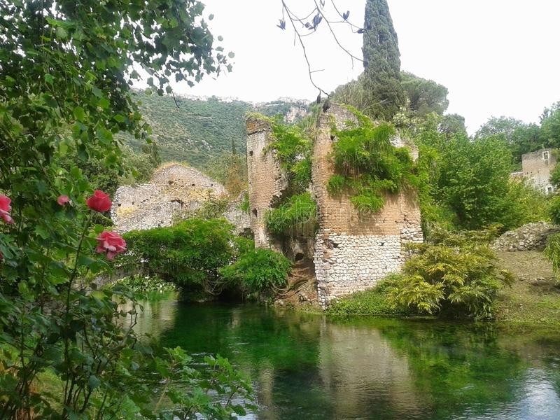 Ancient ruins in the garden of nymph in the Latium in Italy. Travel destination. Plants, trees and flowers. Green river. Reflections on the water. White sky stock photo