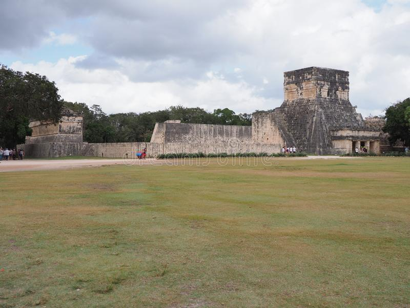 Ancient ruins of great ball court buildings on Chichen Itza in Mexico, largest and most impressive in country royalty free stock images