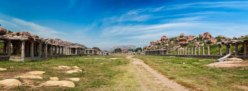 Ancient ruins of Hampi, India. Ancient ruins of Hampi and Sule Bazaar, Hampi, Karnataka, India. Panorama royalty free stock photography