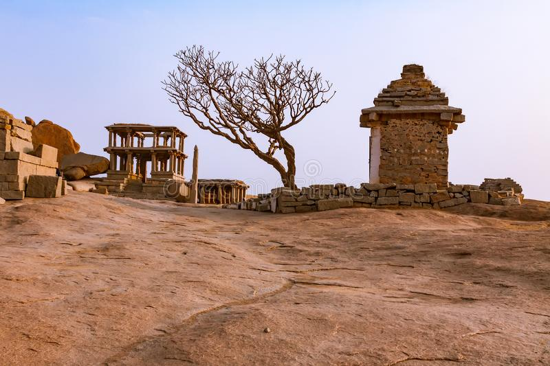 Ancient ruins of Indian temples in Hampi, India royalty free stock photo