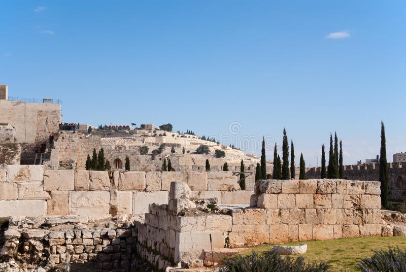 Ancient ruins in Jerusalem royalty free stock images