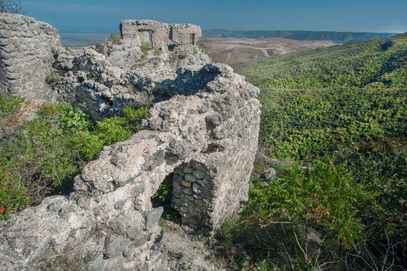 Ancient ruins of Khornabuji Castle over green Alazani valley, Georgia country. Landmark of Kakhetia region stock photos