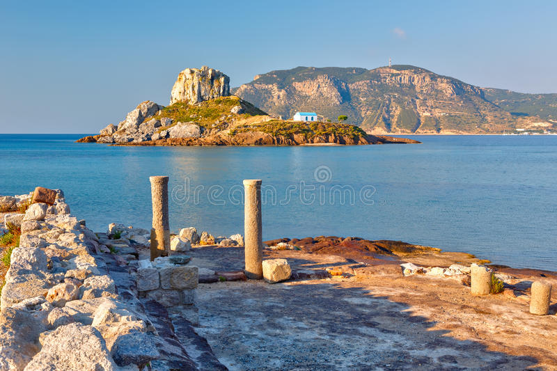 Ancient ruins on Kos, Greece. Island Kastri and ruins on Kos, Greece stock image