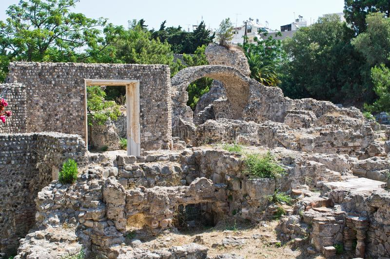 Ancient ruins in Kos town, Greece stock image