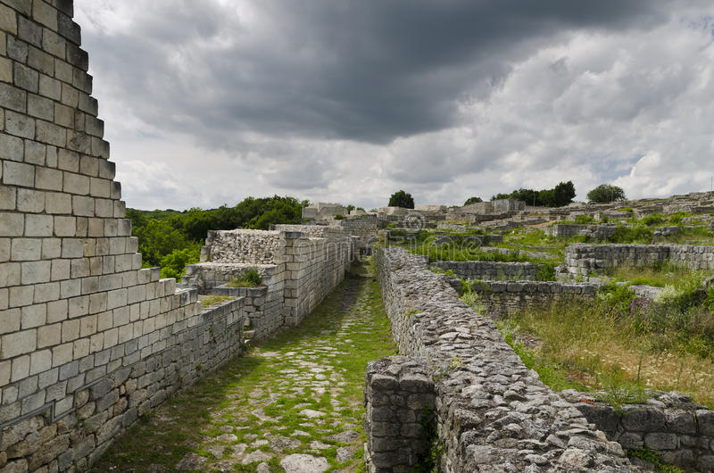 Ancient ruins of a medieval fortress close to the town of Shumen, Bulgaria royalty free stock image