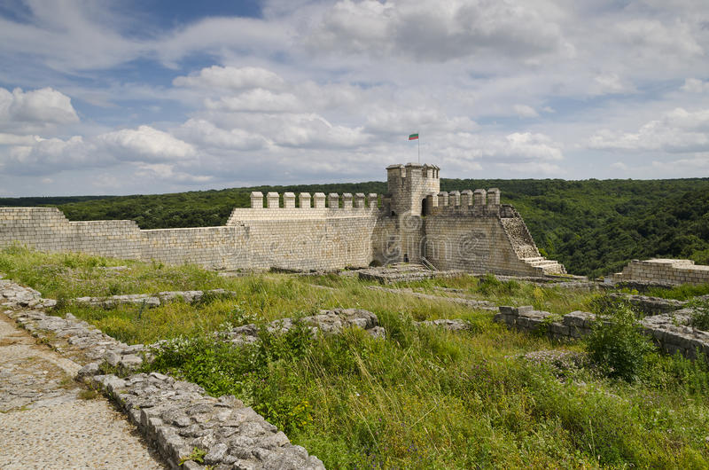 Ancient ruins of a medieval fortress close to the town of Shumen, Bulgaria stock image