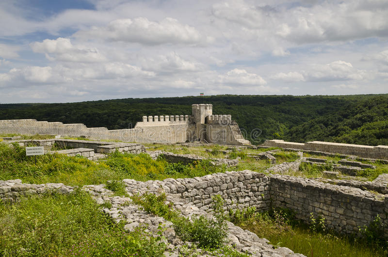 Ancient ruins of a medieval fortress close to the town of Shumen, Bulgaria stock photo