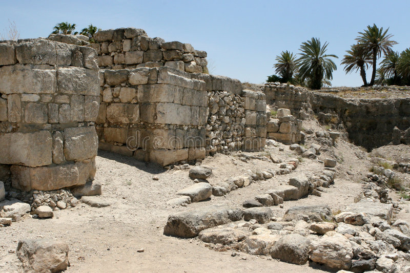 Ancient Ruins At Megiddo, Israel. Excavations at the site of the ancient city of Tel Megiddo which overlooks the Valley of Armageddon, Israel stock photos