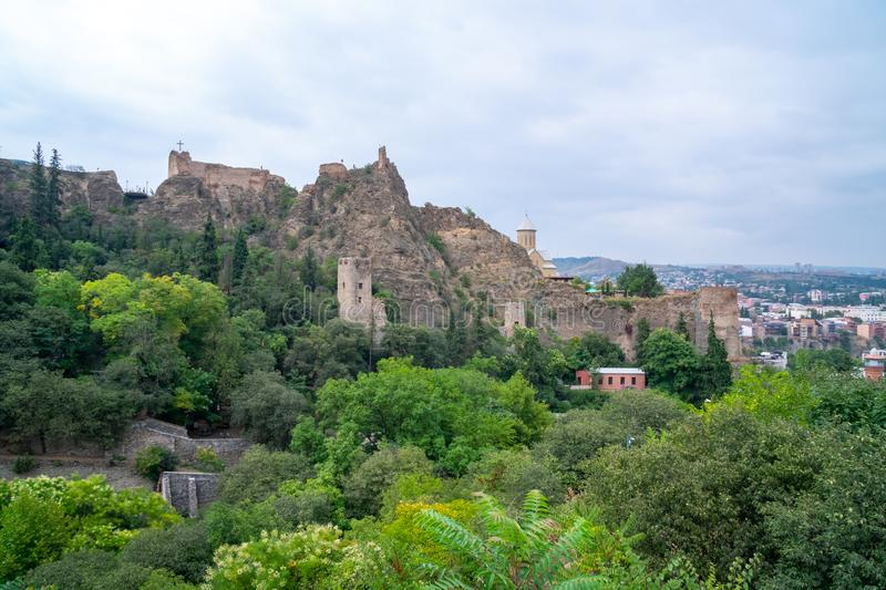 Ancient ruins of Narikala fortress on a high mountain in Tbilisi. Travel stock photo