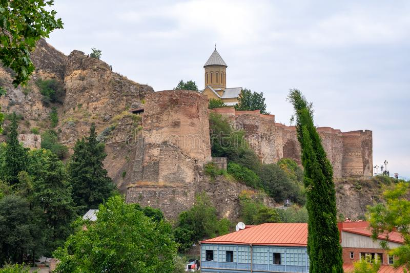 Ancient ruins of Narikala fortress on a high mountain in Tbilisi. Travel royalty free stock image