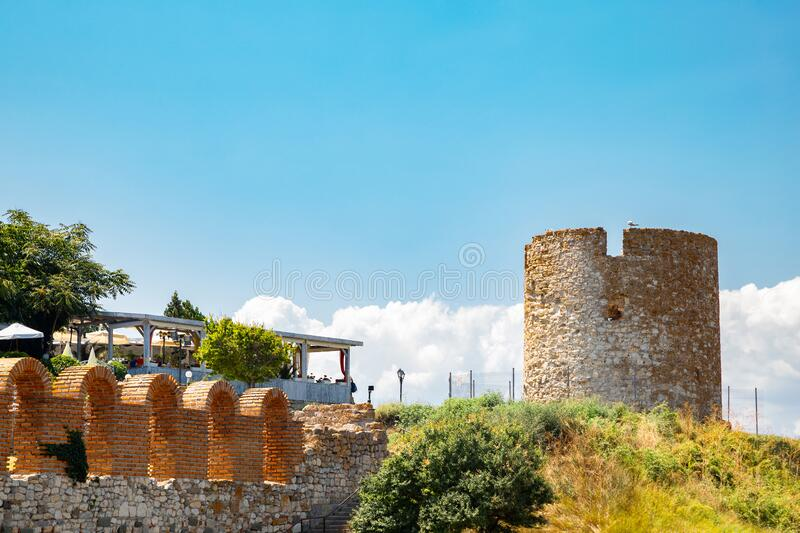 Ancient ruins Old windmill and church of the holy mother eleusa in Nessebar, Bulgaria royalty free stock images