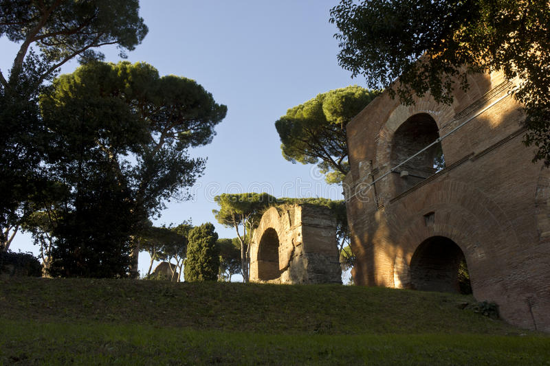 Ancient ruins on Palatine Hill in Rome royalty free stock photo