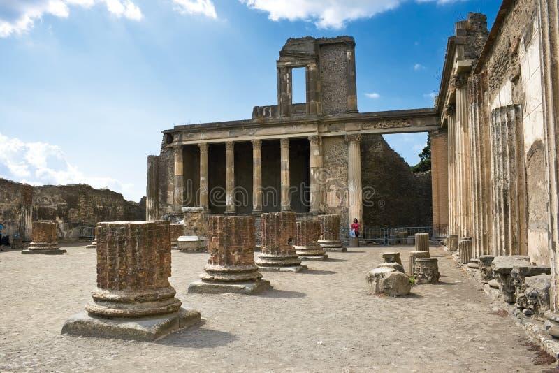 Ancient ruins in Pompeii. Roman ruins after the eruption of Vesuvius in Pompeii, Italy stock photo
