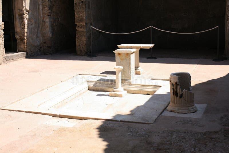 Pompeii ruins in Italy Roman villa interior with bath stock image