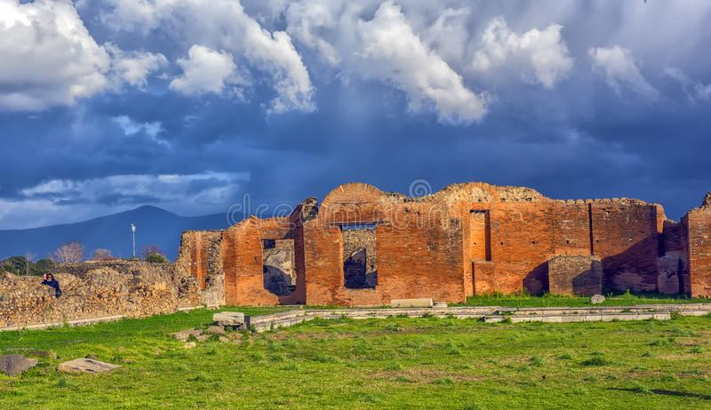 Ancient ruins in Pompeii,. Roman town near modern Naples destroyed and buried under volcanic ash during eruption of Mount Vesuvius stock photos