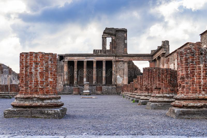 Ancient ruins in Pompeii -Thermopolium of archaeological remains, Naples, Italy stock images