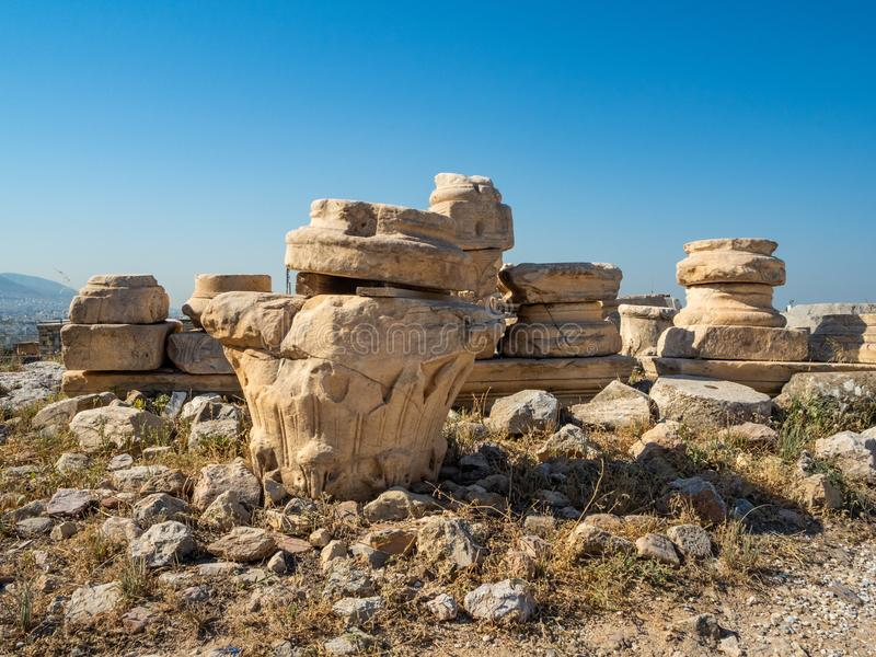 Ancient ruins and remains of columns on the Acropolis of Athens, Greece stock photography