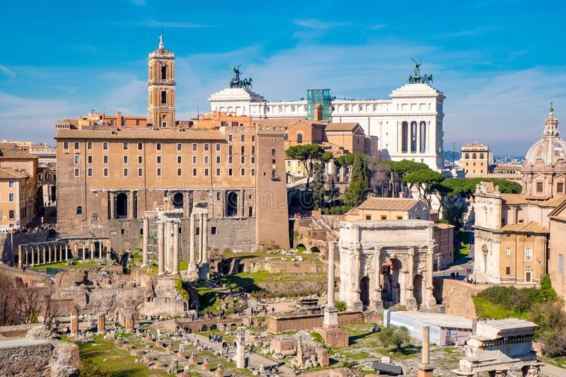 The ancient ruins of the Roman Forum in Rome, Italy royalty free stock photography